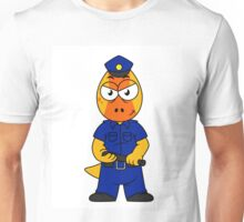 Illustration of a Pachycephalosaurus police officer. Unisex T-Shirt