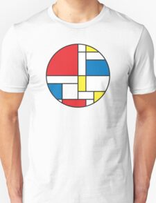 Geometric Grids and Boxes (Mondrian Style) with Circle Frame T-Shirt