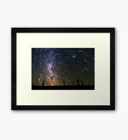 Star Trails over Atacama Desert Cacti Framed Print