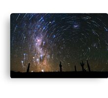 Star Trails over Atacama Desert Cacti Canvas Print