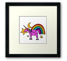 Funny Cool Unicorn and Rainbow and Stars Art Framed Print