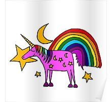 Funny Cool Unicorn and Rainbow and Stars Art Poster