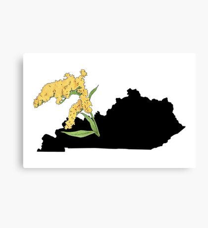 Kentucky Silhouette and Flower Canvas Print