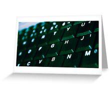 Computer Keyboard Green and black Greeting Card