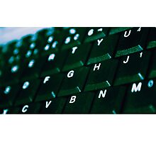 Computer Keyboard Green and black Photographic Print