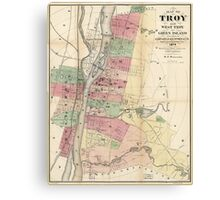 Map of Troy, West Troy & Green Island New York (1874) Canvas Print