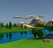 Low Poly Mountainside by Sean Merricks