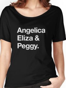 Helvetica Angelica Eliza and Peggy (White on Black) Women's Relaxed Fit T-Shirt