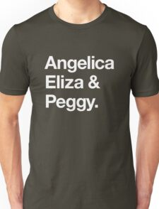 Helvetica Angelica Eliza and Peggy (White on Black) Unisex T-Shirt
