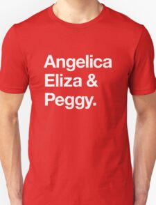 Helvetica Angelica Eliza and Peggy (White on Black) T-Shirt