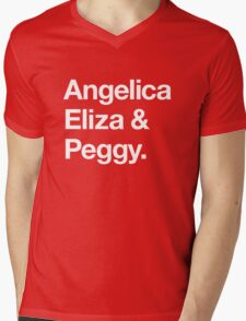 Helvetica Angelica Eliza and Peggy (White on Black) Mens V-Neck T-Shirt