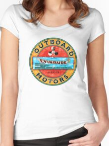 Vintage Evinrude outboard motor. Women's Fitted Scoop T-Shirt