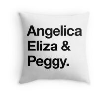 Helvetica Angelica Eliza and Peggy (Black on White) Throw Pillow