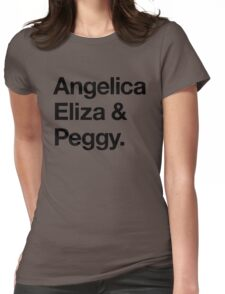 Helvetica Angelica Eliza and Peggy (Black on White) Womens Fitted T-Shirt