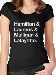 Helvetica Hamilton and Laurens and Mulligan and Lafayette (White on Black) Women's Fitted Scoop T-Shirt