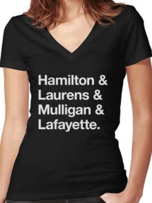 Helvetica Hamilton and Laurens and Mulligan and Lafayette (White on Black) Women's Fitted V-Neck T-Shirt