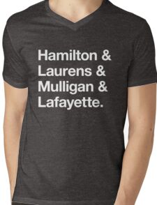 Helvetica Hamilton and Laurens and Mulligan and Lafayette (White on Black) Mens V-Neck T-Shirt