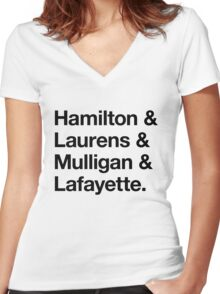 Helvetica Hamilton and Laurens and Mulligan and Lafayette (Black on White) Women's Fitted V-Neck T-Shirt