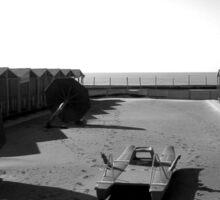 Ostia seafront: beach cabins sea boat umbrella Sticker
