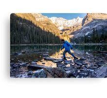 Sid Skipping Over Lake OHara Canvas Print