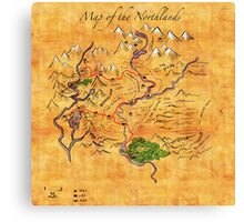 Fantasy Map of the Northlands Canvas Print