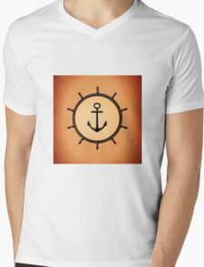 Vintage Brass Nautical Anchor and Ship's Wheel Mens V-Neck T-Shirt