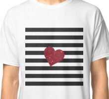 Modern Glamorous Red Faux Glitter Heart Stripes Classic T-Shirt
