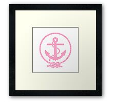 Pink Nautical Anchor and Line Framed Print