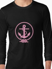 Pink Nautical Anchor and Line Long Sleeve T-Shirt