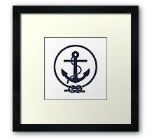 Navy Blue Nautical Anchor and Line Framed Print