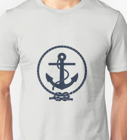 Navy Blue Nautical Anchor and Line Unisex T-Shirt