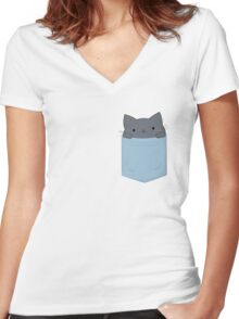 Pocket Cat Women's Fitted V-Neck T-Shirt