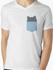Pocket Cat Mens V-Neck T-Shirt