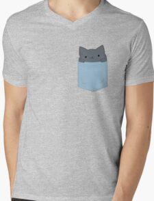 Pocket Cat Mens V-Neck T-Shirt