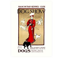1901  Dog Show ad Mascoutah Illinois restored Art Print