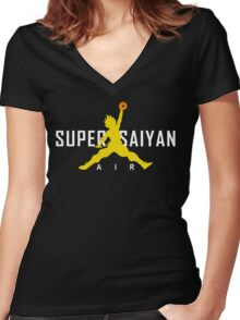 Dragonball Z - AIR SUPER SAIYAN GOKU Women's Fitted V-Neck T-Shirt