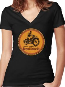 Royal Enfield vintage motorcycles Women's Fitted V-Neck T-Shirt