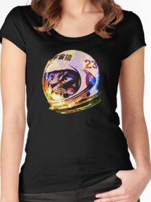 Astronaut Space Cat (deep galaxy version) Women's Fitted Scoop T-Shirt