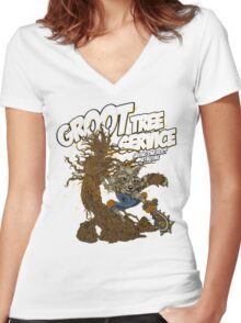 Tree Service Women's Fitted V-Neck T-Shirt