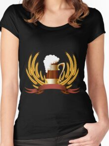 Beer mug cereal ears and banner for your text Women's Fitted Scoop T-Shirt