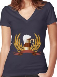 Beer mug cereal ears and banner for your text Women's Fitted V-Neck T-Shirt