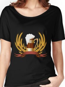 Beer mug cereal ears and banner for your text Women's Relaxed Fit T-Shirt