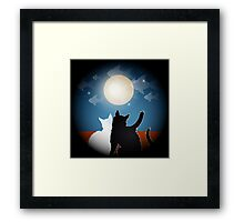 dreaming cats on a roof Framed Print