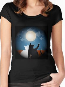 dreaming cats on a roof Women's Fitted Scoop T-Shirt