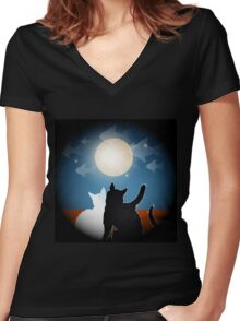 dreaming cats on a roof Women's Fitted V-Neck T-Shirt