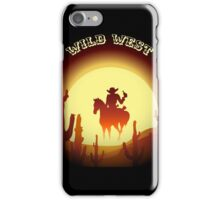 Wild West theme with desert rider iPhone Case/Skin
