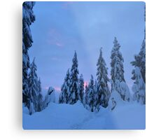 Snowshoeing the mountains  Metal Print