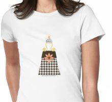 The Katy Bag / Black Licorice Houndstooth Womens Fitted T-Shirt