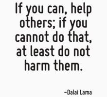 If you can, help others; if you cannot do that, at least do not harm them. Kids Tee