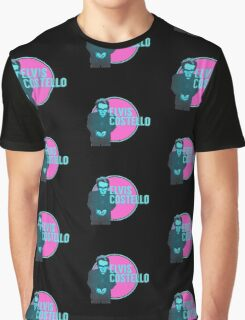 Pink And Blue Elvis Costello Graphic T-Shirt